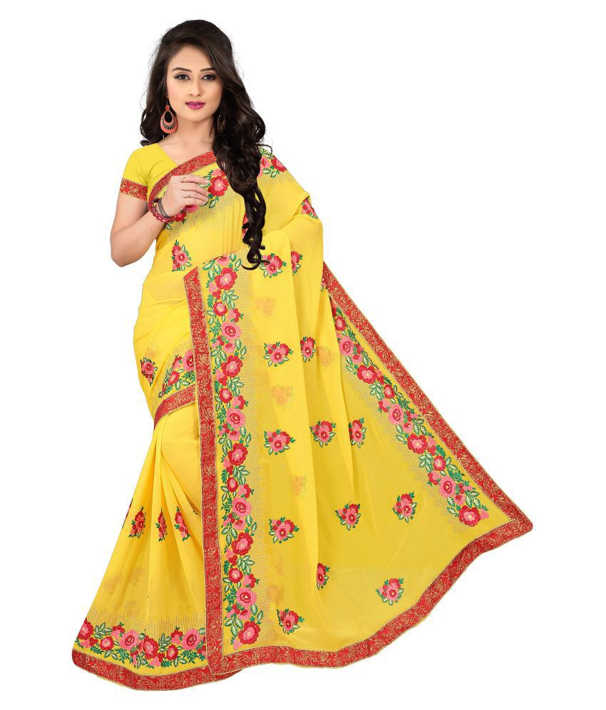 siyalee Yellow Art Silk Saree