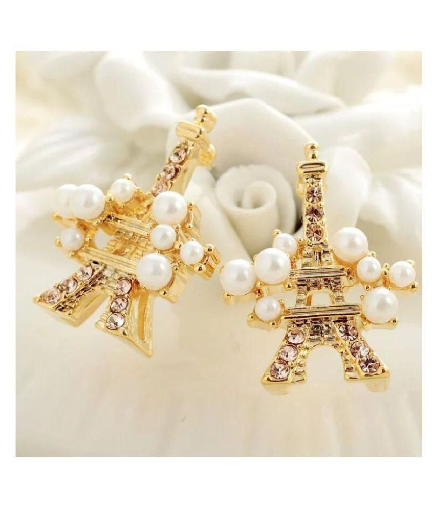 Popmode Gold Plated Pearl Rhinestone Studded Unique Eiffel Tower Fashion Stud Earrings for Women Girls