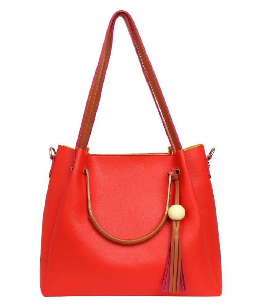Lychee Bags Red P.U. Shoulder Bag