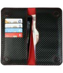 Gionee Gpad G4 Flip Cover by Emartbuy - Multi ( Magnetic Slim Wallet Size LM4 ) Black Red Carbon