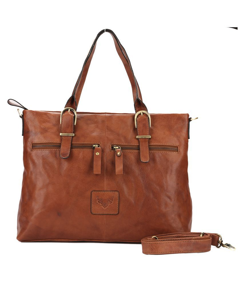 Koza Brown Pure Leather Tote Bag