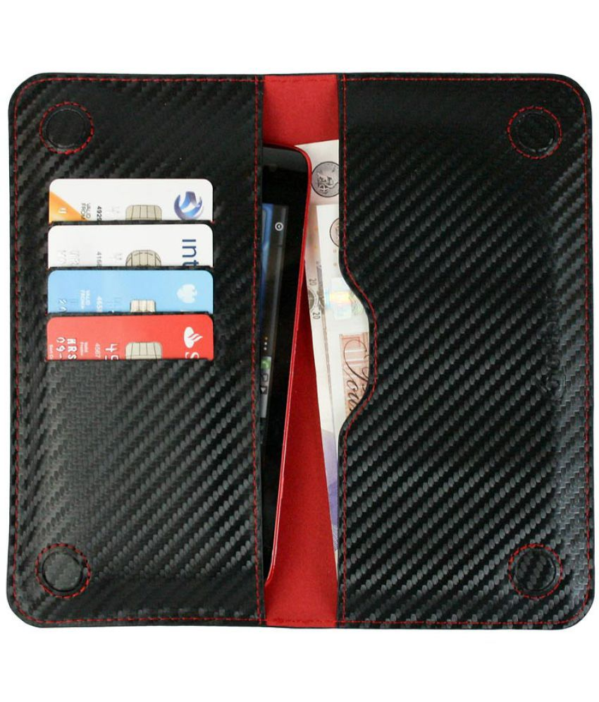 LYF Water 7 Flip Cover by Emartbuy - Multi ( Magnetic Slim Wallet Size LM4 ) Black Red Carbon