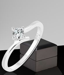 Vighnaharta Youth Solitaire CZ Rhodium Plated Alloy Ring for Women and Girls - [VFJ1249FRR14]