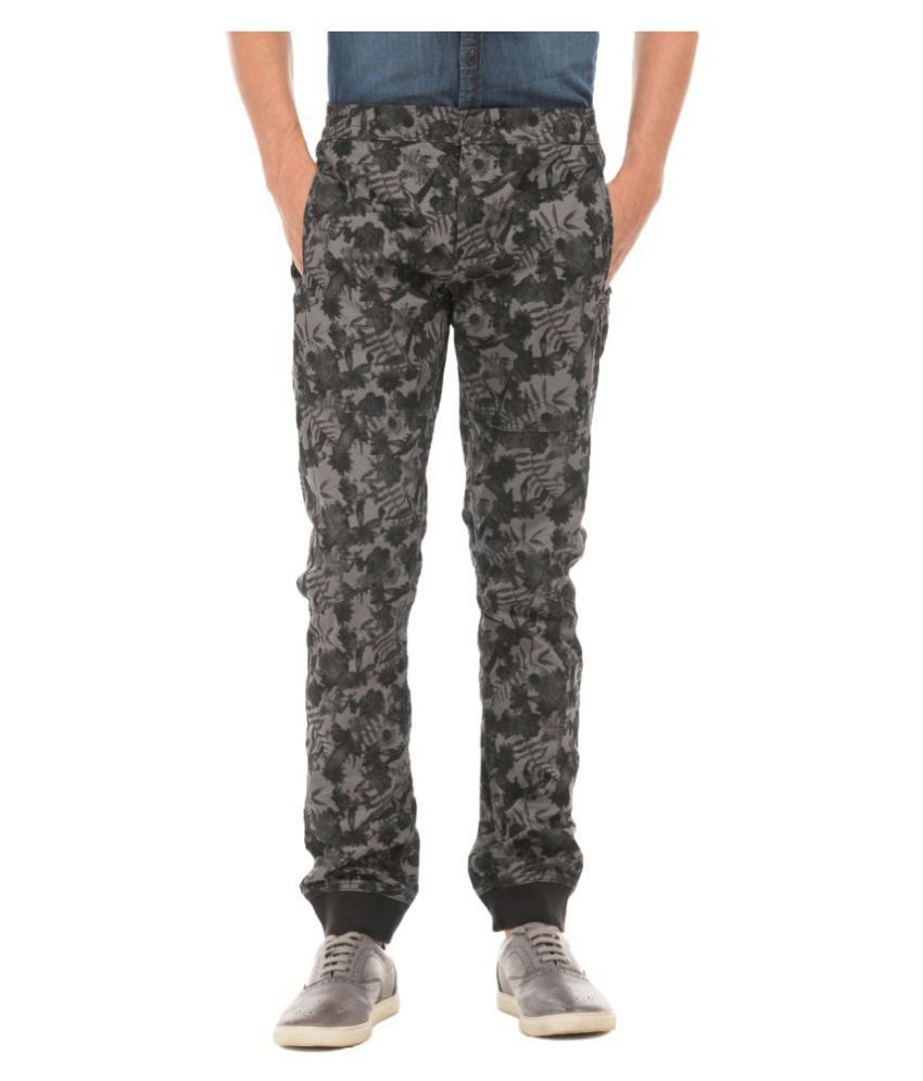 Flying Machine Grey Slim -Fit Flat Joggers