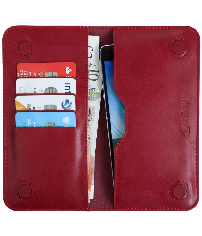 HTC One E9s Flip Cover by Emartbuy - Red ( Magnetic Slim Wallet Size LM4 ) Dark Red Plain