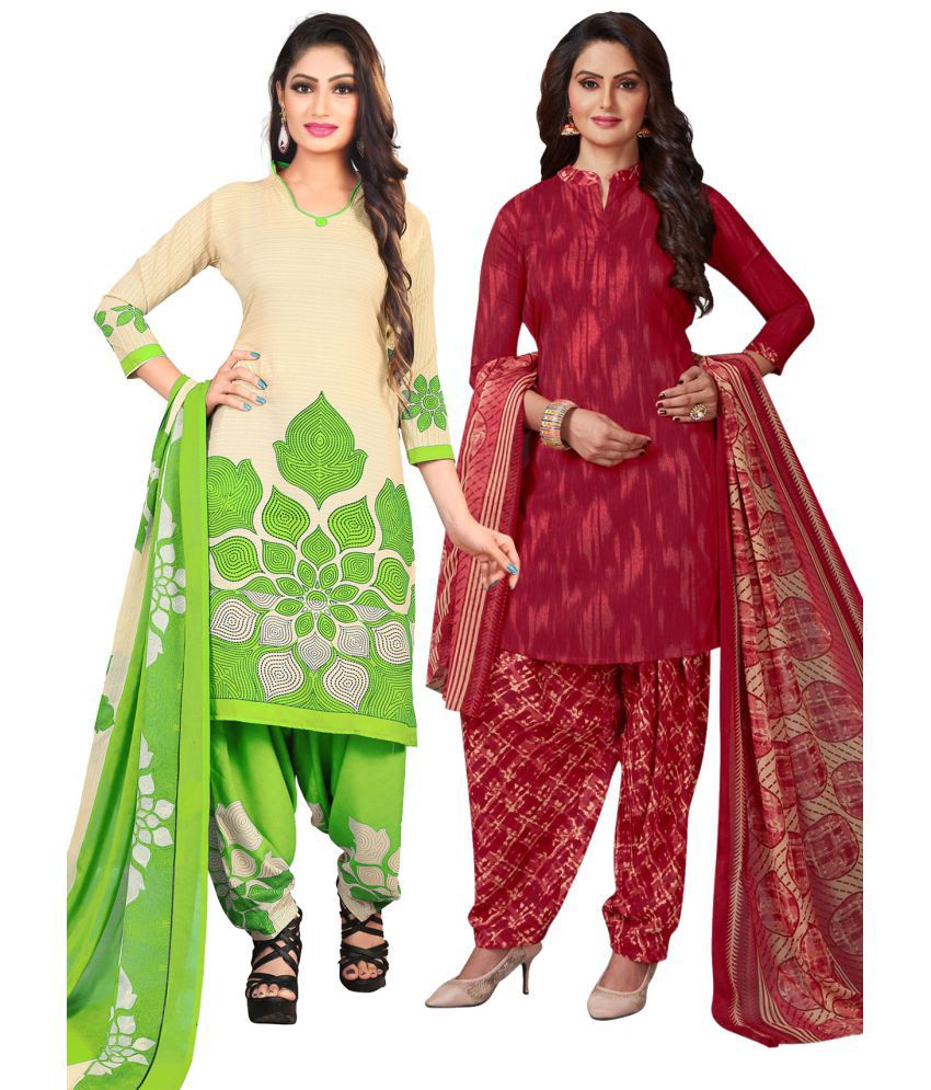 Salwar Studio Red and Maroon Synthetic Dress Material