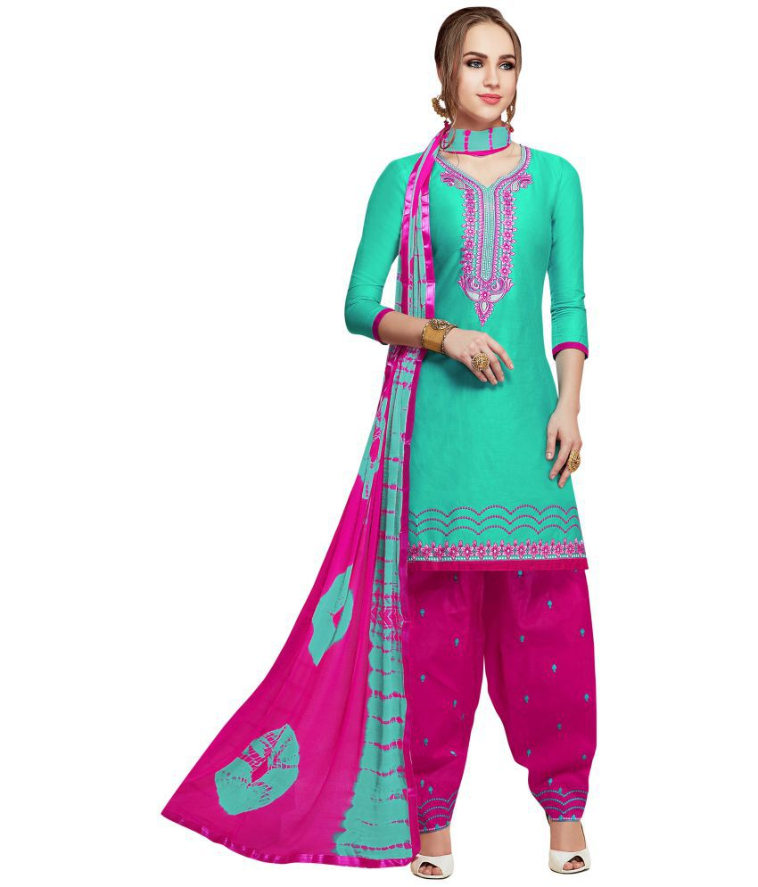 Maroosh Green and Pink Cotton Straight Semi-Stitched Suit