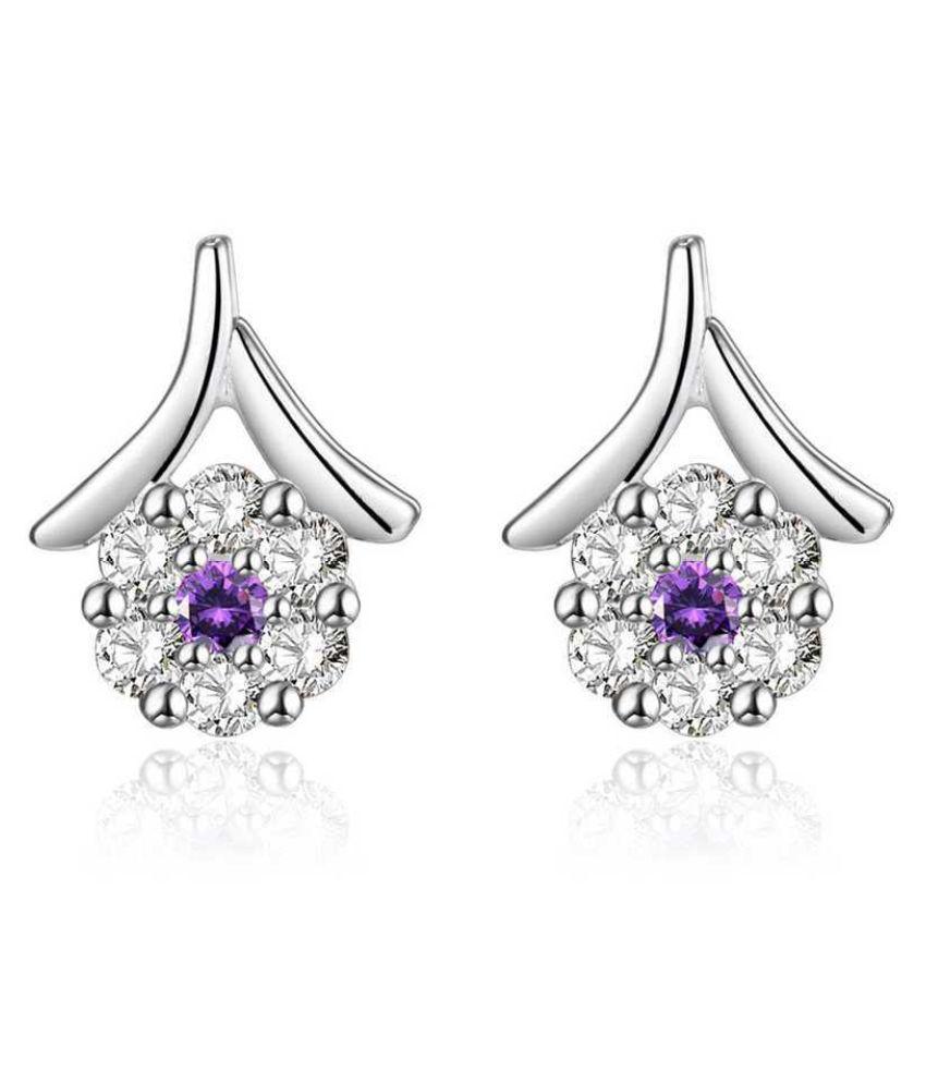 Kamalife Fashion Purple Flower Bling Bling Diamond 1 Pair Earings Jewellery
