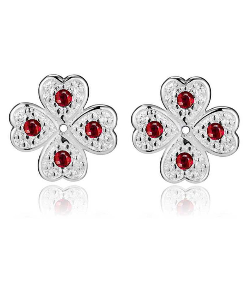 Kamalife Fashion Red Heart Bling Bling Diamond 1 Pair Earings Jewellery