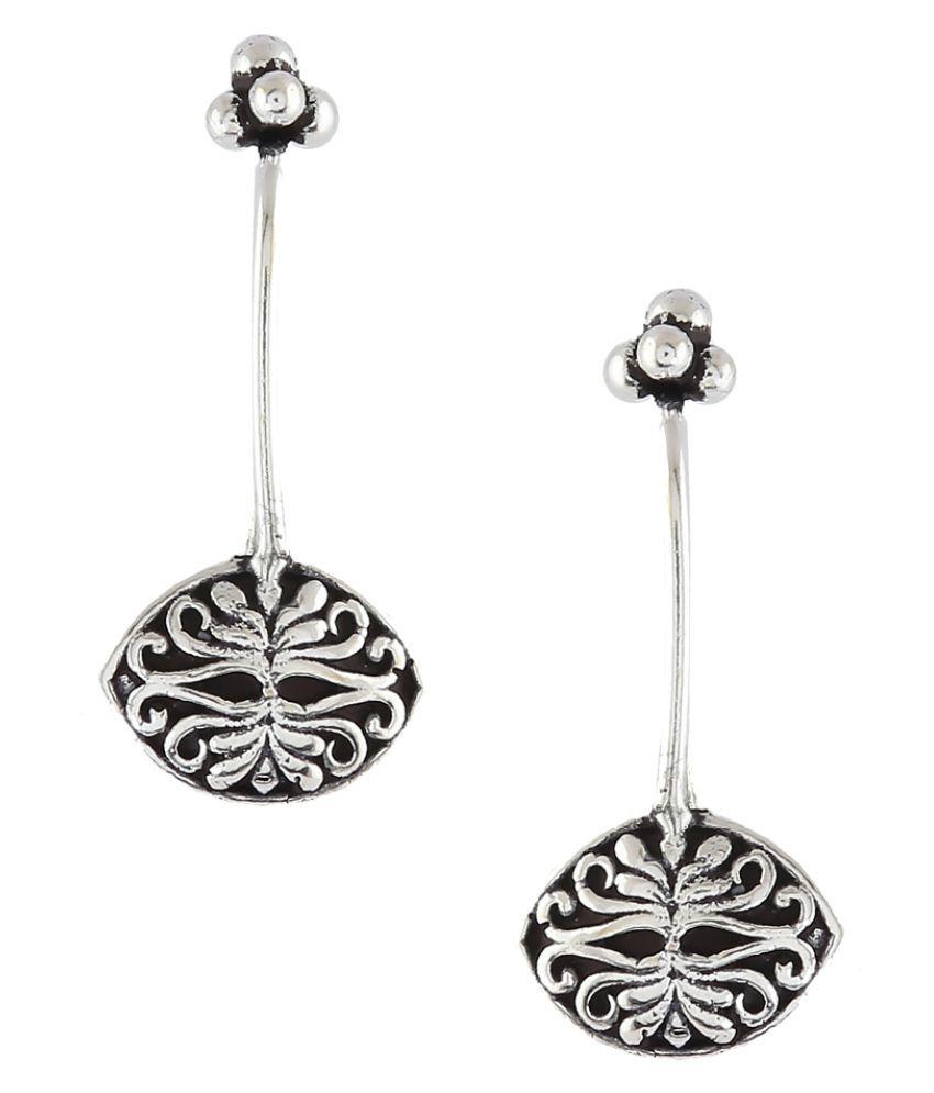 Anuradha Art Silver Colour Designer Wonderful Oxidized Bugadi Tribal Ear Clip Earrings For Women/Girls