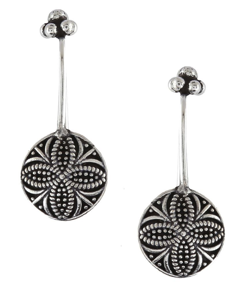 Anuradha Art Silver Tone Flower Inspired Antique German Bugadi Tribal Ear Clip Earrings For Women/Girls