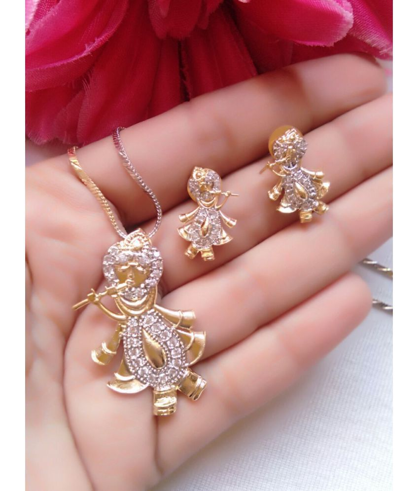 Fj Style Shri Krishna Pendant Set In American Diamond For