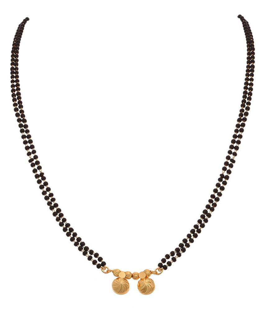 JFL -Traditional Ethnic One Gram Gold Plated Double Wati Designer Mangalsutra with Double Black Beaded Chain for Women.