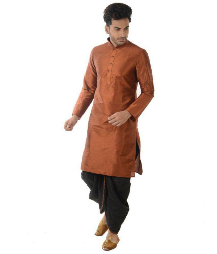 Deyann Orange Silk Blend Dhoti Kurta Set