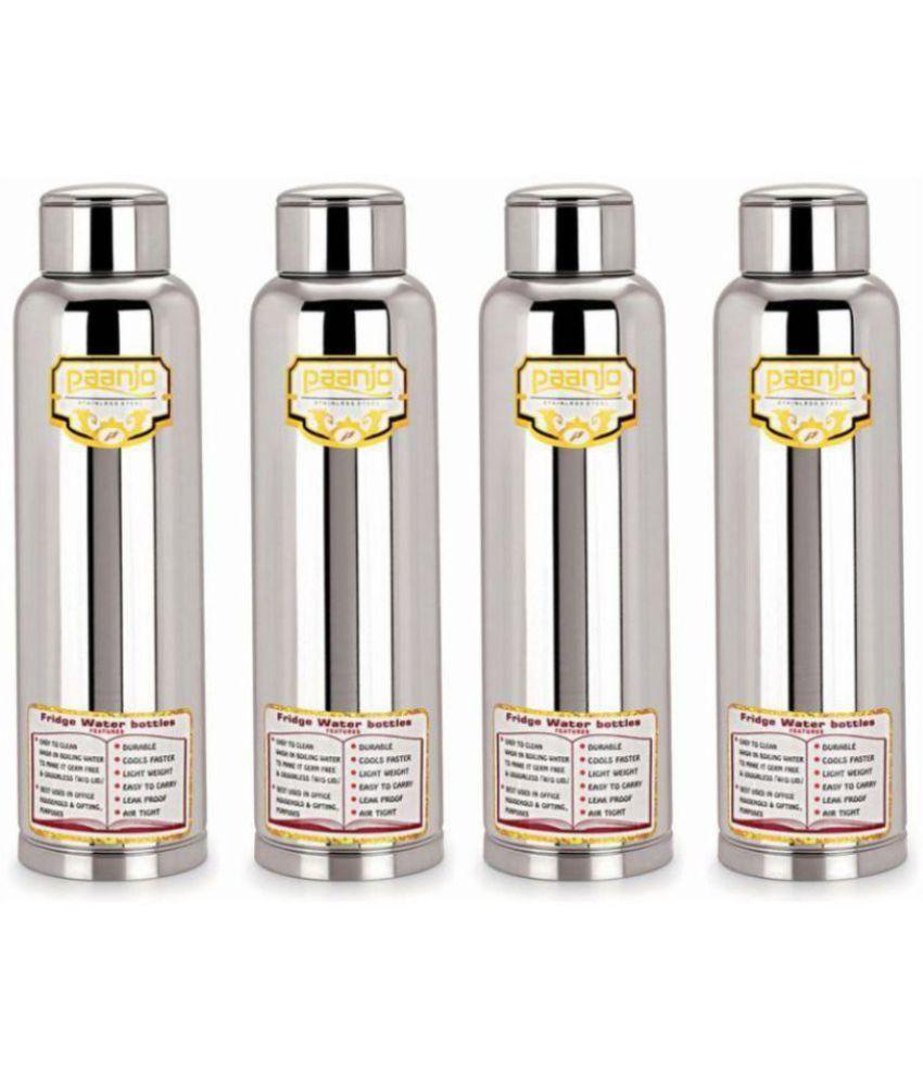 Paanjo Silver 900 ml Steel Fridge Bottle Set of 4
