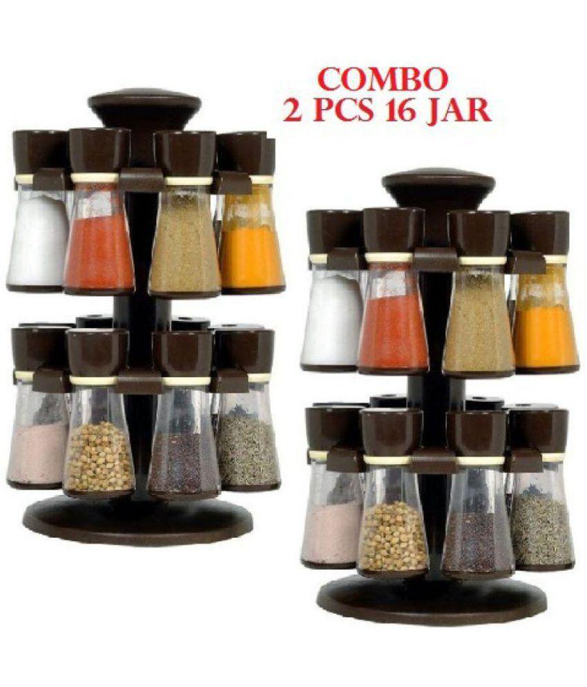Slings Kitchenware 16- Jar brown Revolving Masala Rack Set of 16 Polyproplene Spice Container Set of 11-20