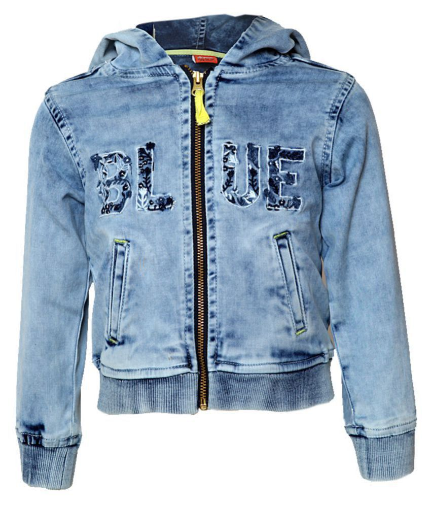 Tales & Stories Girls Solid Light Blue Hooded Jacket