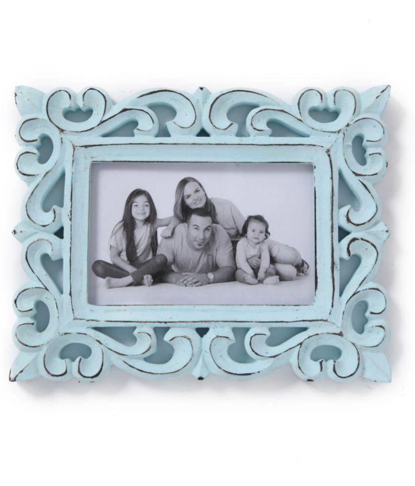 Yatha Wood Blue Single Photo Frame - Pack of 1