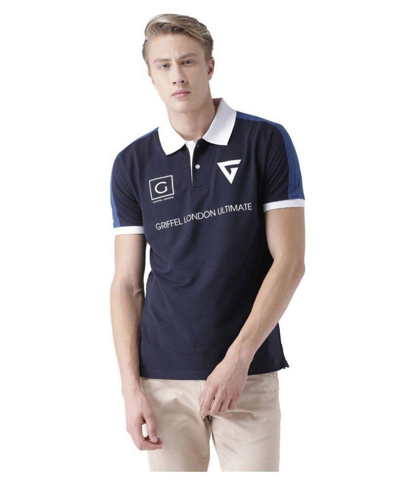 Griffel Navy Half Sleeve T-Shirt