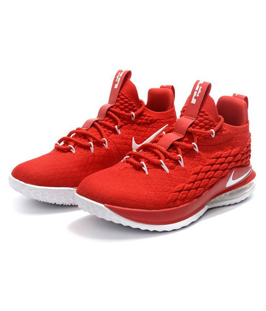 watch f8db2 4f9f7 Nike LeBron 15 LOW Red Basketball Shoes