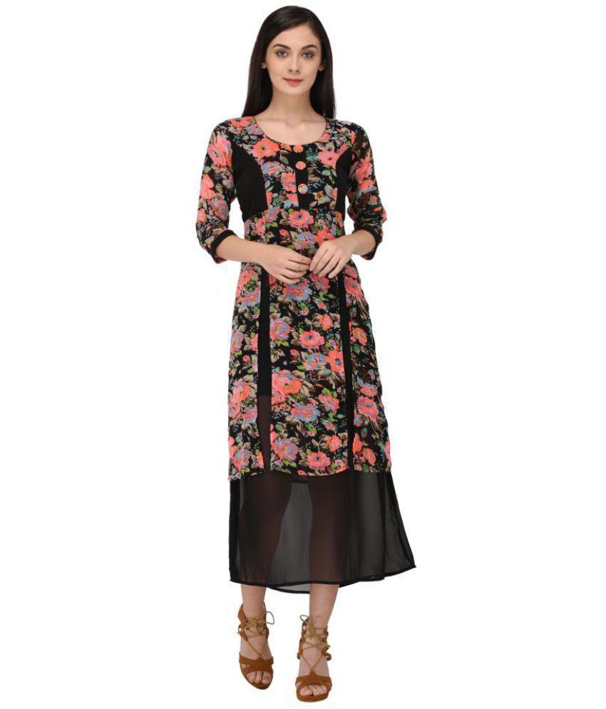 Triraj Georgette Multi Color A- line Dress