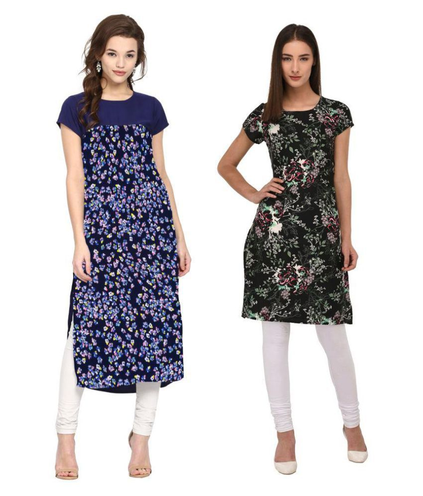 Colors Couture Green Crepe Straight Kurti
