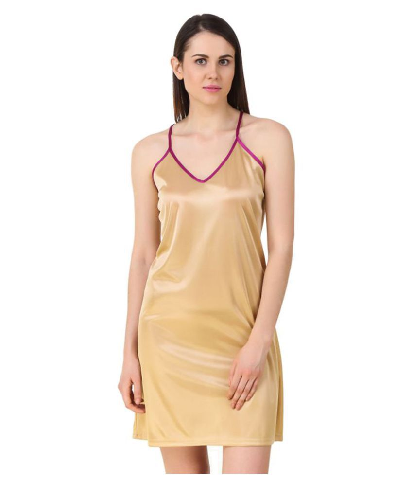 9349ba7c3 Buy Fasense Satin Nighty   Night Gowns - Beige Online at Best Prices in  India - Snapdeal