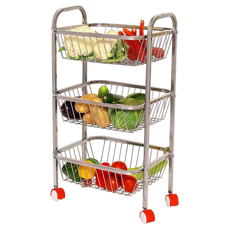 Royal sapphire 3 Tier Stainless Steel Multipurpose Fruit & Vegetable Trolley/Kitchen Rack