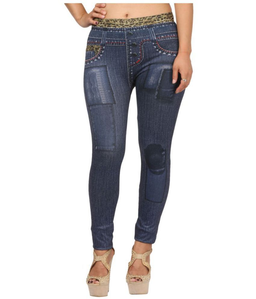 Fit 'N' You Poly Viscose Jeggings - Blue