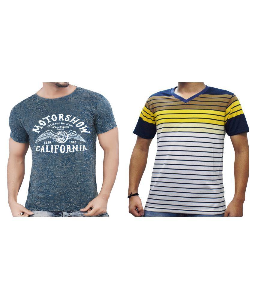 KUNDAN SULZ GWALIOR Blue Half Sleeve T-Shirt Pack of 2