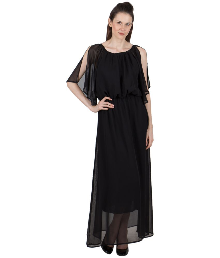G & M Collections Poly Georgette Black A- line Dress