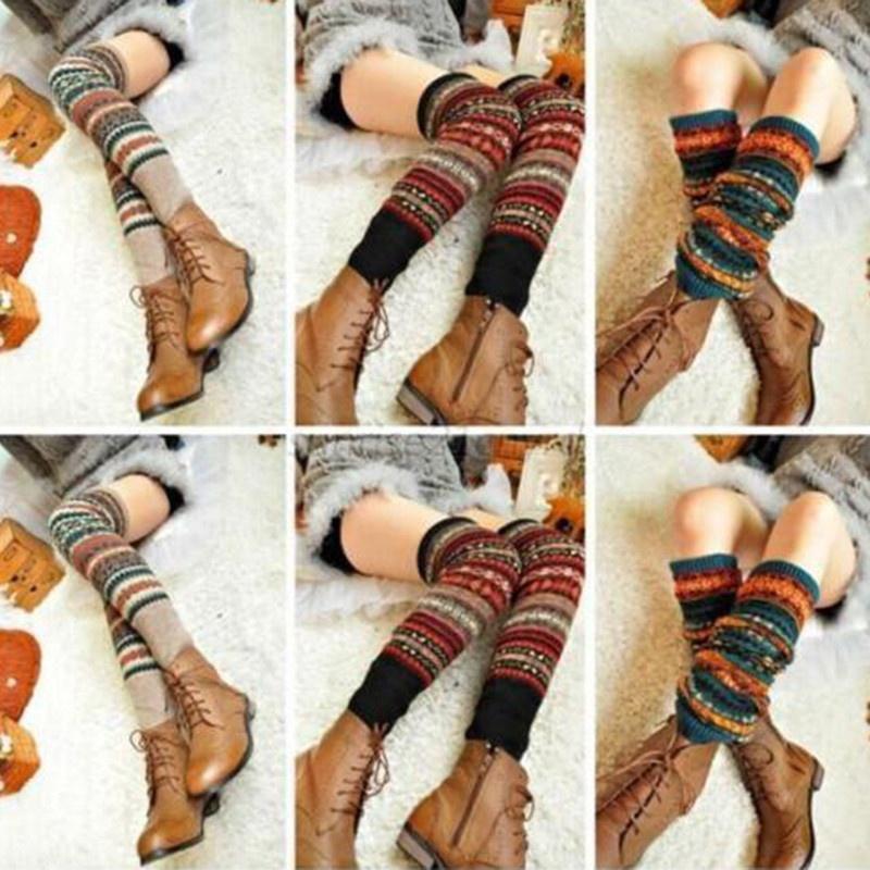 Ladies Winter Warm Leg Warmers Cable Knit Knitted Crochet Long Socks