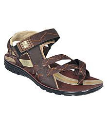 Bata Style Brown Synthetic Leather Sandals