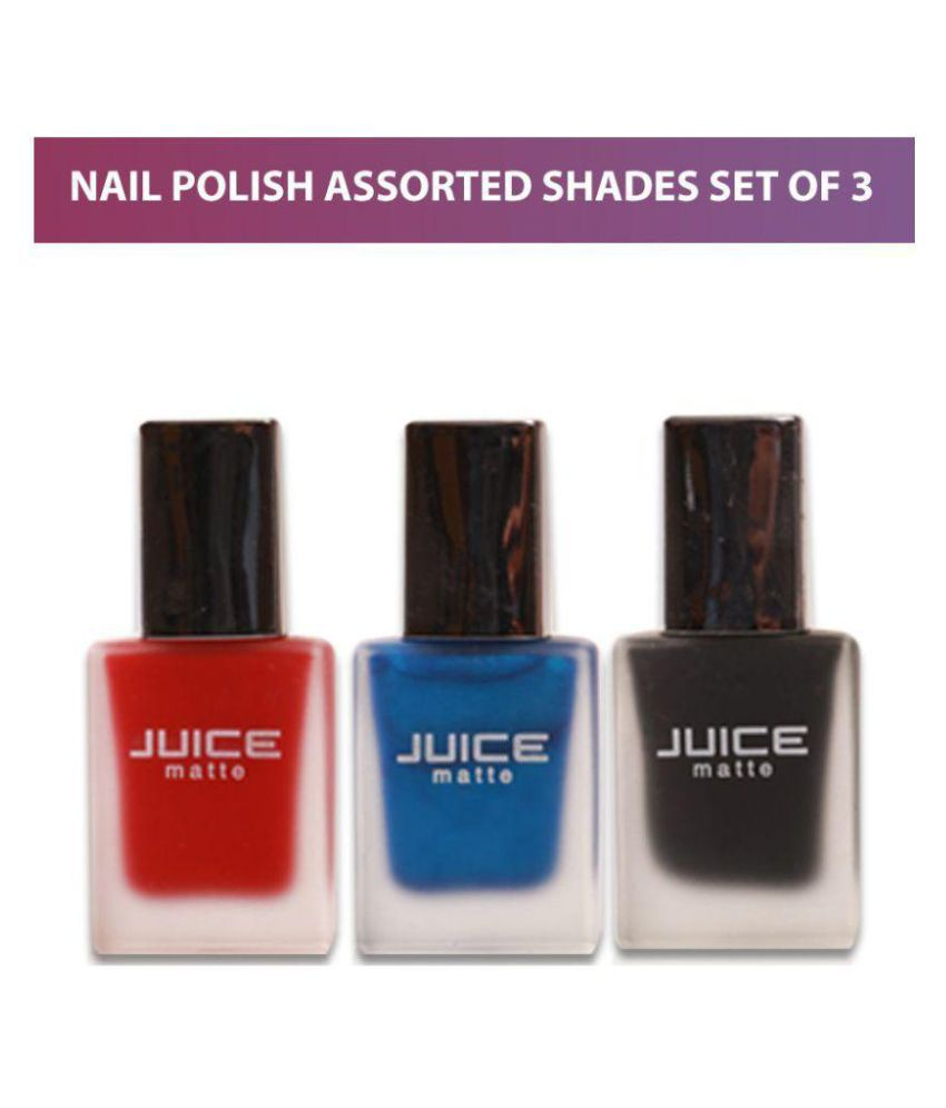 Juice Nail Polish assorted Matte Red, Blue & Black Set of 3 - Matte ...
