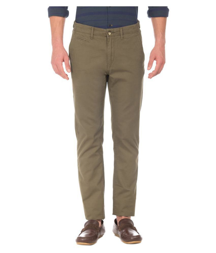 U.S. Polo Assn. Brown Slim -Fit Flat Trousers