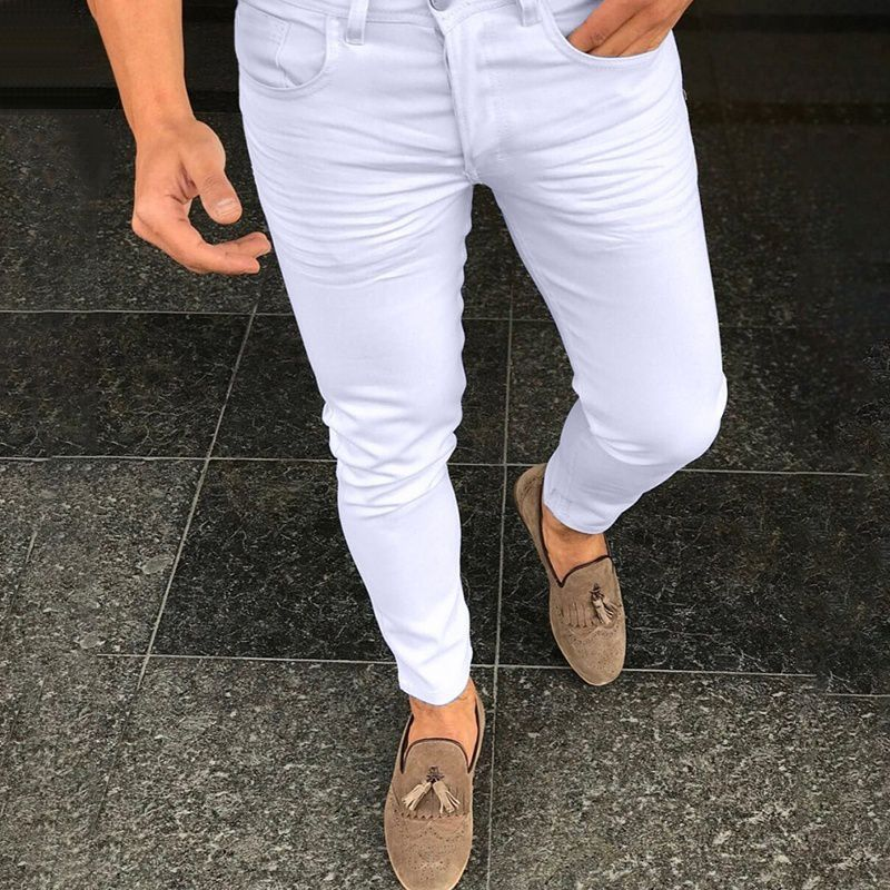 Changing Destiny White Slim -Fit Flat Trousers