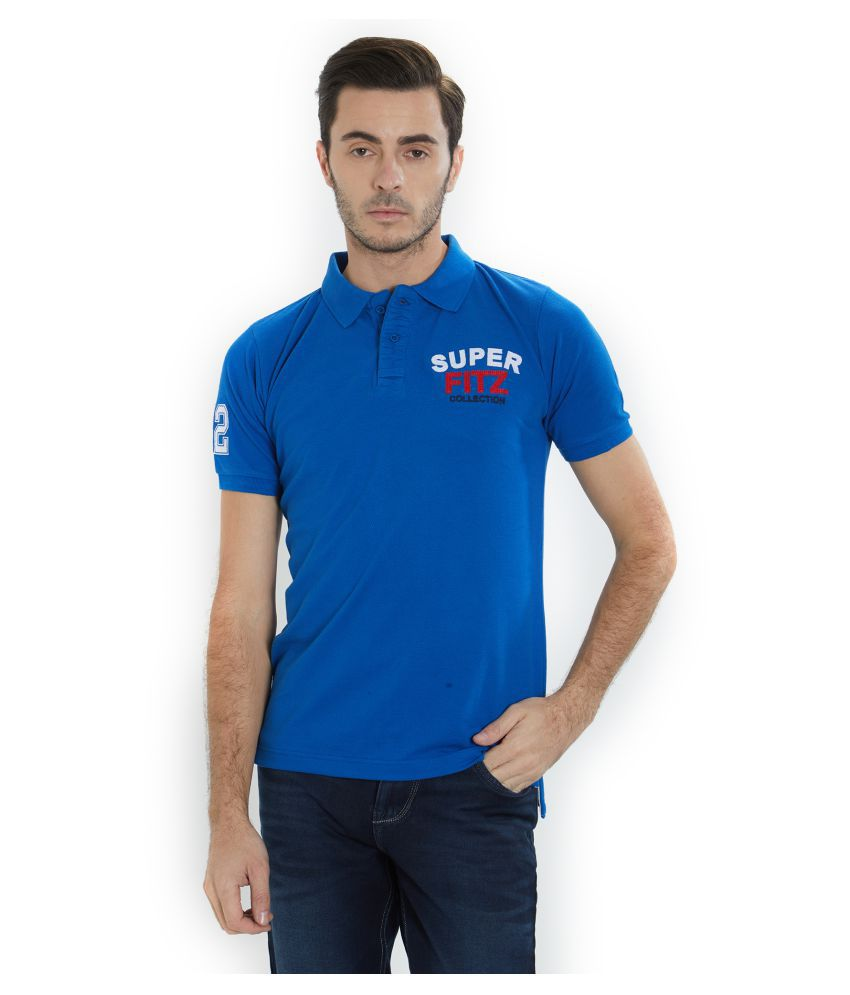 Fitz Blue Cotton Polo T-Shirt Single Pack