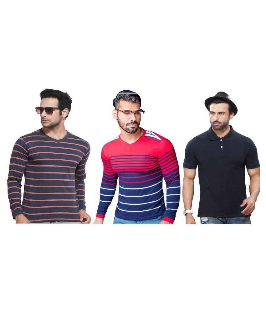 KUNDAN SULZ GWALIOR Multi Full Sleeve T-Shirt Pack of 3