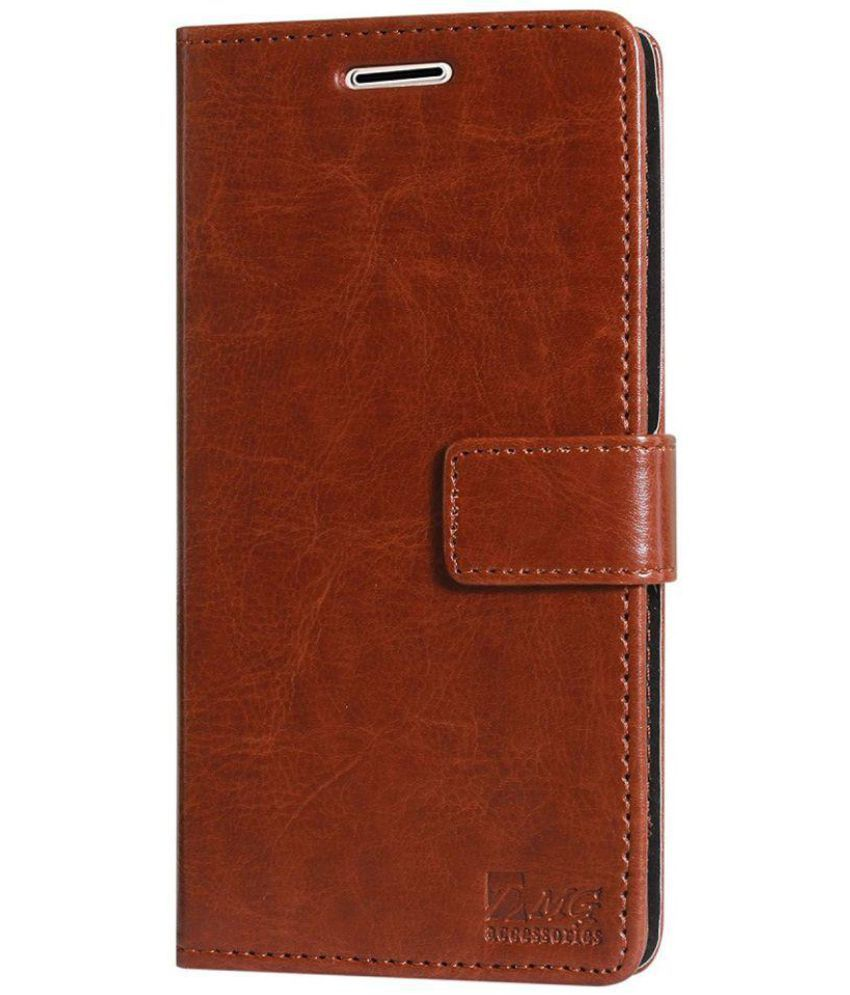 Redmi Note 5 Flip Cover by Lychee Bags - Brown magnetic button