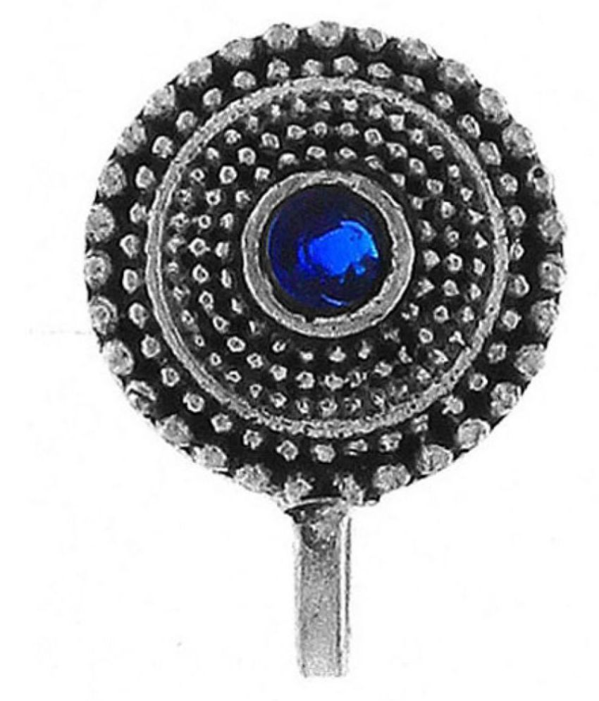 Anuradha Art Silver Finish Styled With Blue Colour Classy Designer Clip-On Nose Ring/Pin For Women/Girls