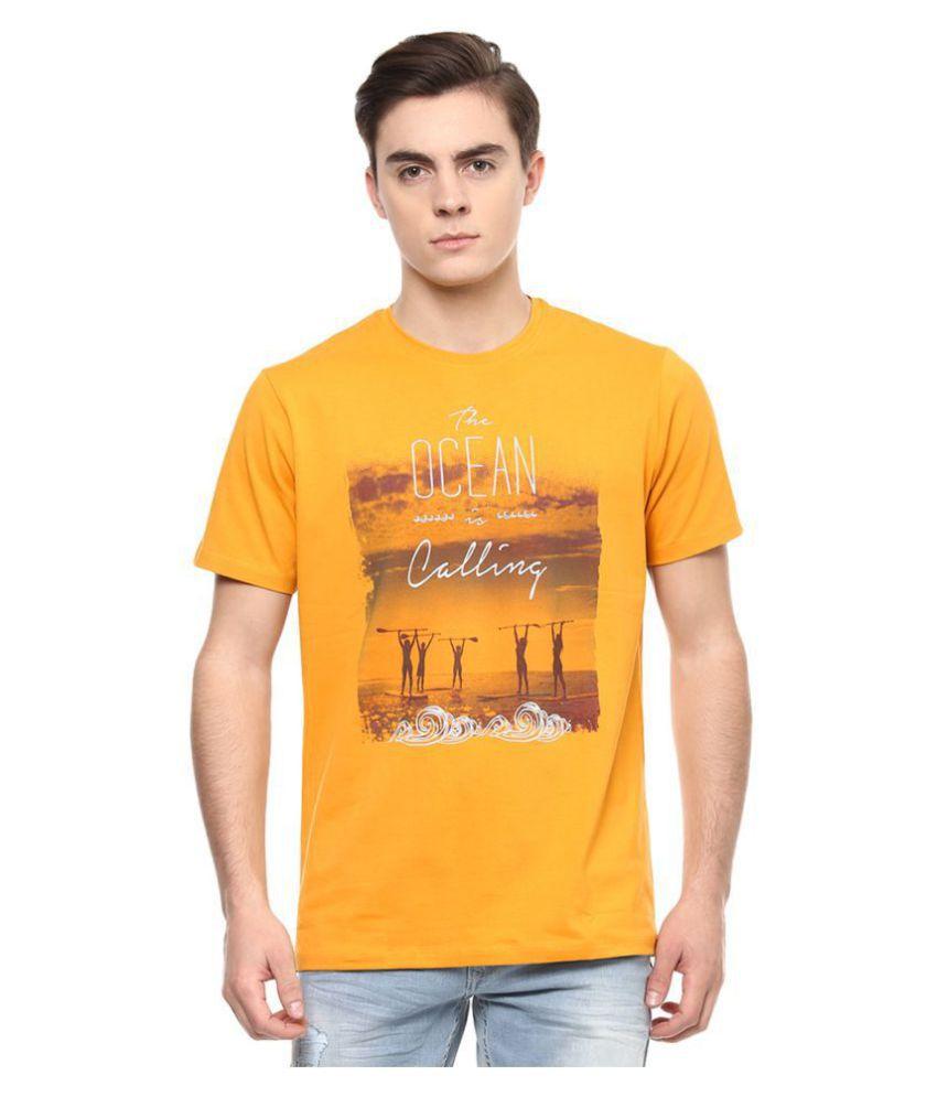 Spykar Orange Half Sleeve T-Shirt