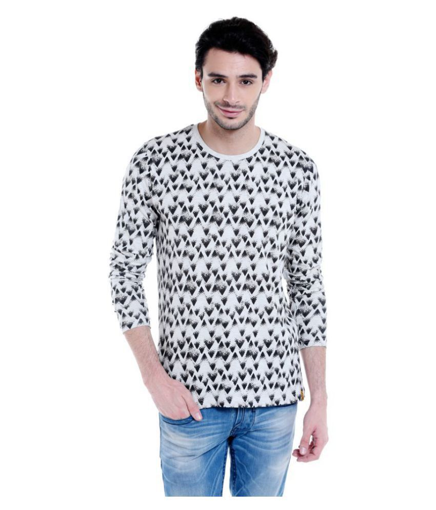 Campus Sutra White Full Sleeve T-Shirt