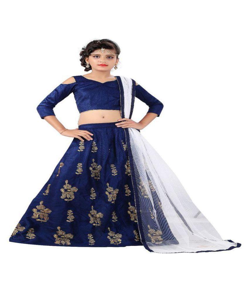 83a00f332c42 F Plus Fashion Navy Blue Embroidered Wedding Wear Kids Lehenga  Choli_(Comfortable To 8-13 Year Girls). - Buy F Plus Fashion Navy Blue  Embroidered Wedding ...