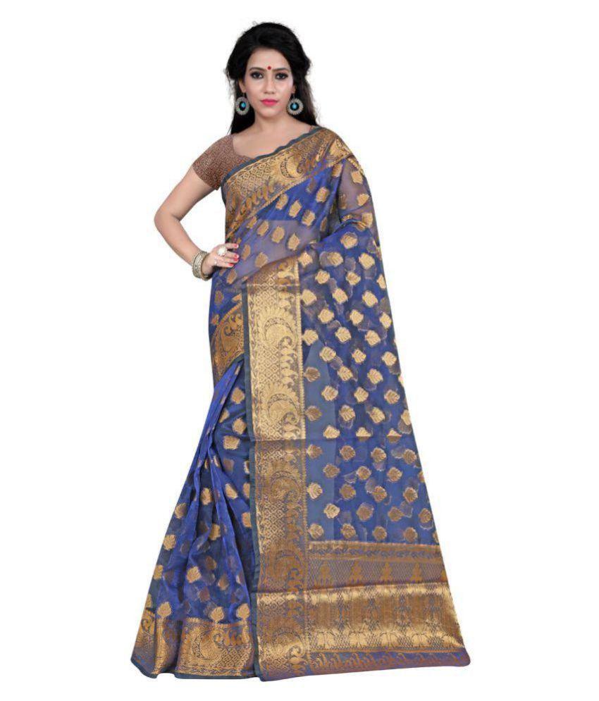 Gazal Fashions Blue Banarasi Silk Saree