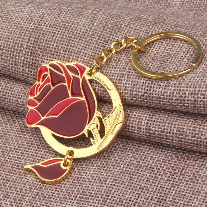 Beauty and the Beast Keychain Gold Enamel Enchanted Rose Flower Key Chain
