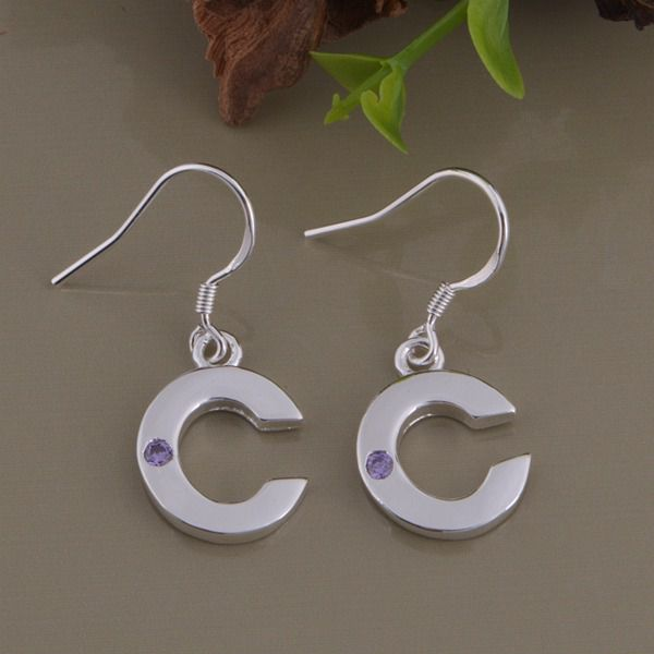 Kamalife Fashion White And Purple Color Letter C Bling Bling 1 Pair Earings Jewellery