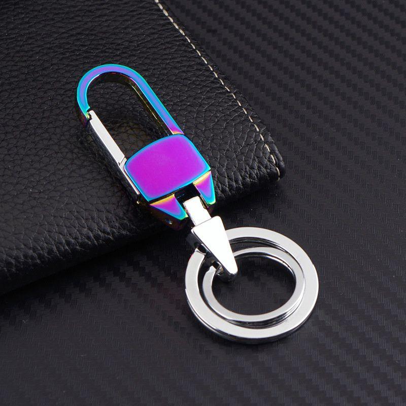Rainbow Color Luxury Keychain Cool Metal Keychain Car Key Chain Key Ring Birthday Gift for Man Women