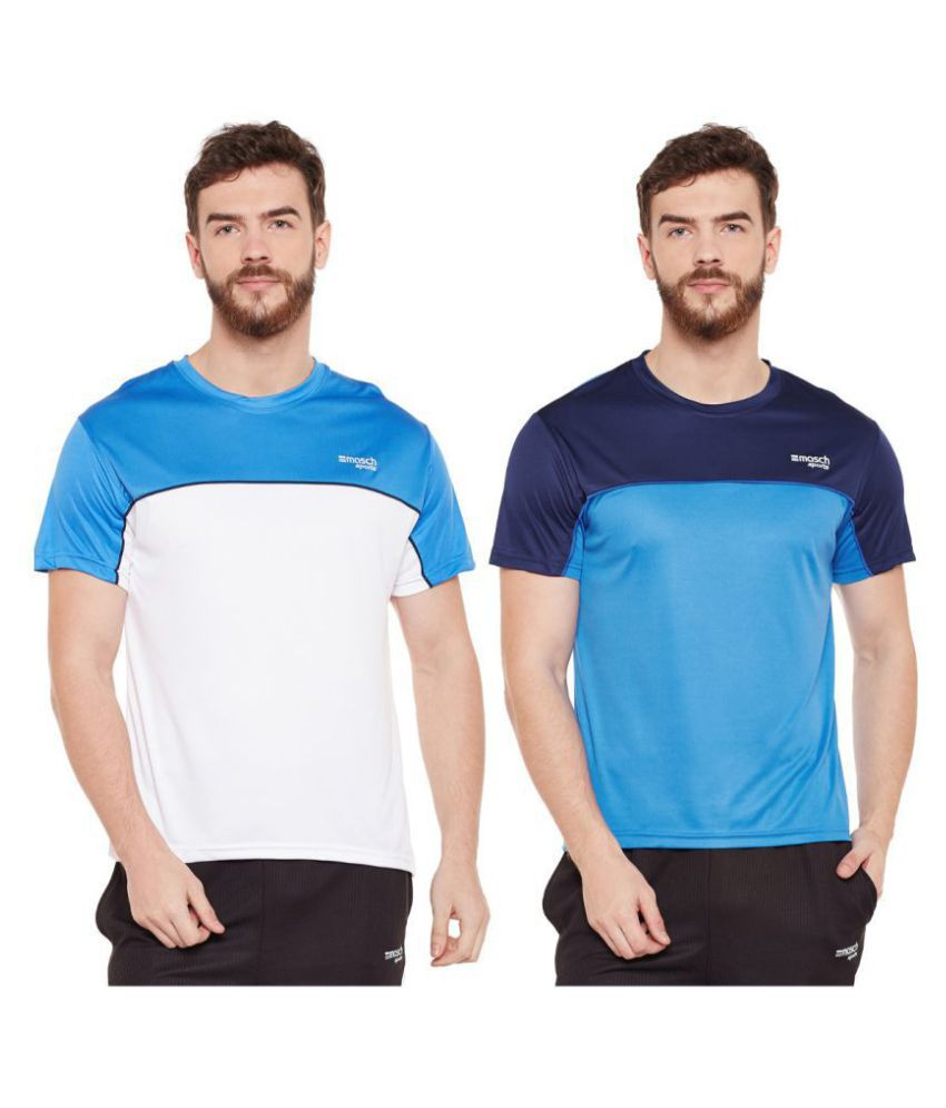 Masch Sports Multi Polyester T-Shirt Pack of 2