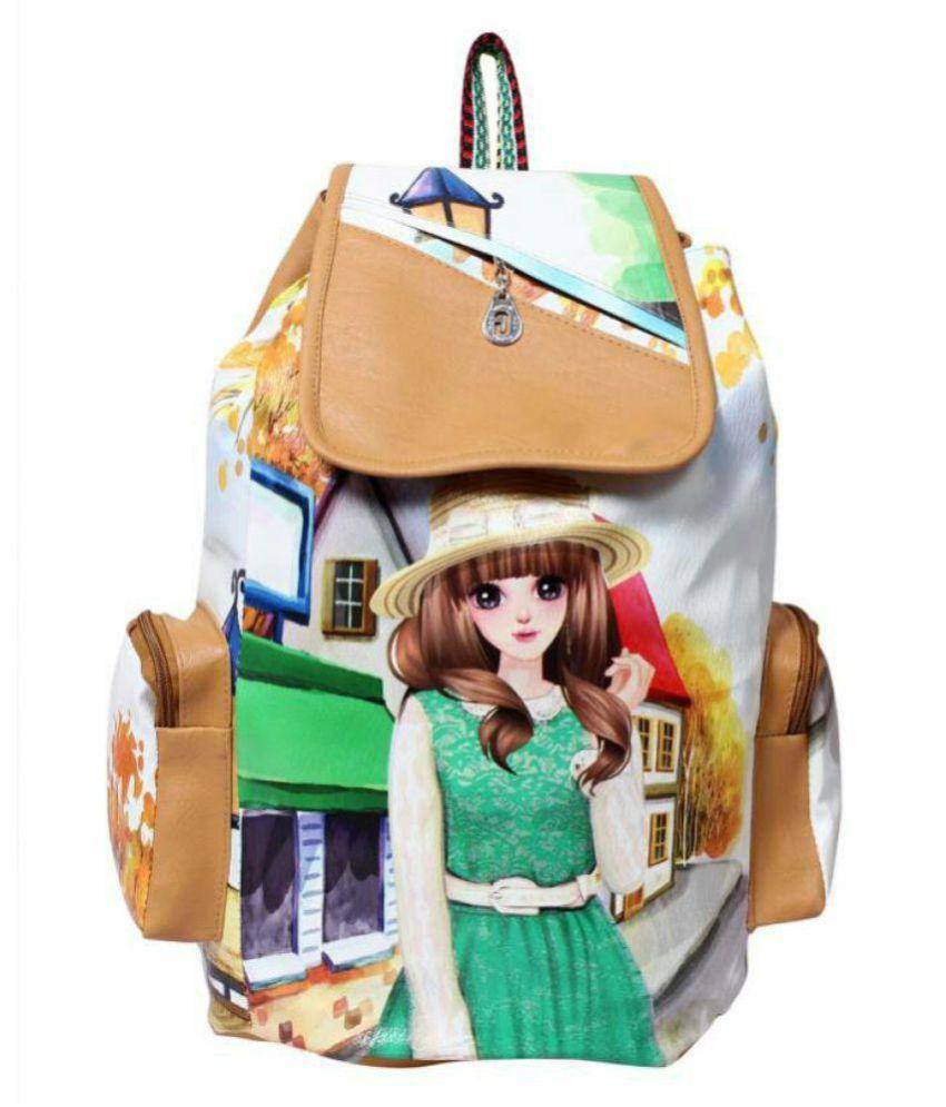 Geetu Ladies Bag Brown Faux Leather Backpack
