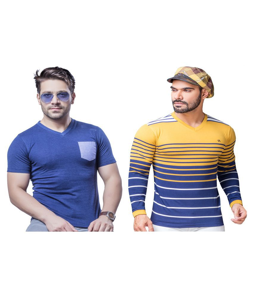 KUNDAN SULZ GWALIOR Yellow Full Sleeve T-Shirt Pack of 2
